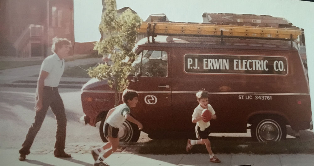Electrician and kids and their Van